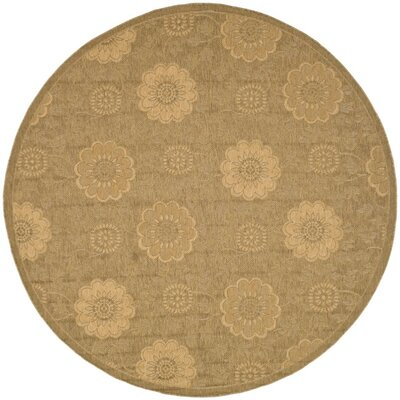 Laurel Light Gold/Natural Outdoor Rug Rug Size: Round 67