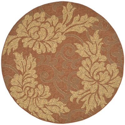 Laurel Brick/Natural Outdoor Rug Rug Size: Round 67