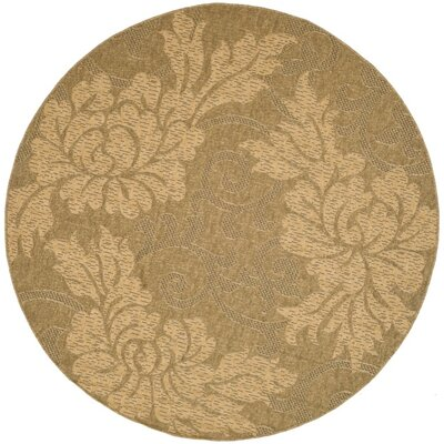 Laurel Gold & Natural Outdoor Area Rug Rug Size: Round 67