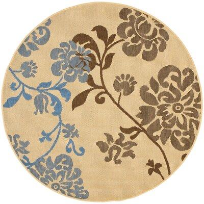 Laurel Brown/Blue Indoor/Outdoor Area Rug Rug Size: Round 53