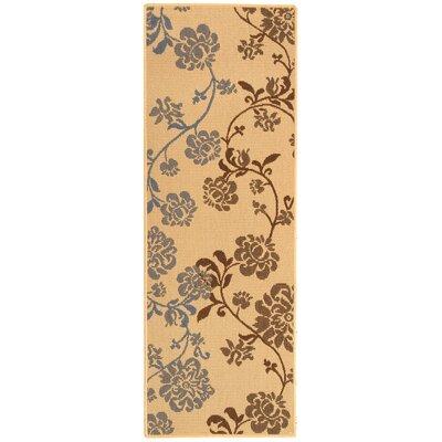 Laurel Natural Brown/Blue Outdoor Rug Rug Size: Runner 24 x 67