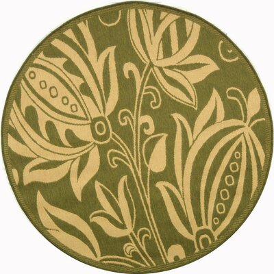 Laurel Olive / Natural Outdoor Area Rug Rug Size: Round 67