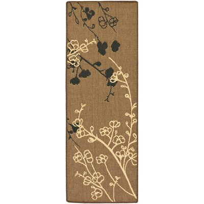 Laurel Brown Natural/Black Outdoor Rug Rug Size: Runner 24 x 67