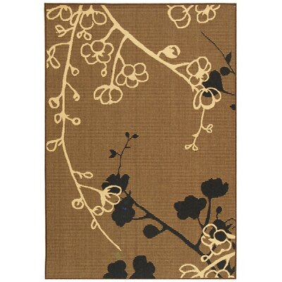 Laurel Brown Natural/Black Outdoor Rug Rug Size: Round 53