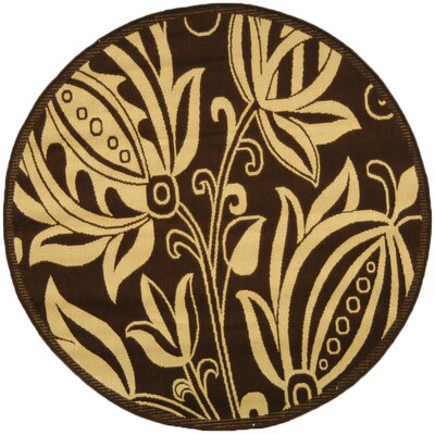 Laurel Chocolate/Natural Outdoor Area Rug Rug Size: Round 53