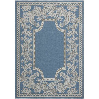 Laurel Blue/Natural Indoor/Outdoor Rug Rug Size: Rectangle 53 x 77