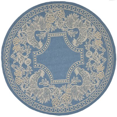 Laurel Blue/Natural Indoor/Outdoor Rug Rug Size: Round 53