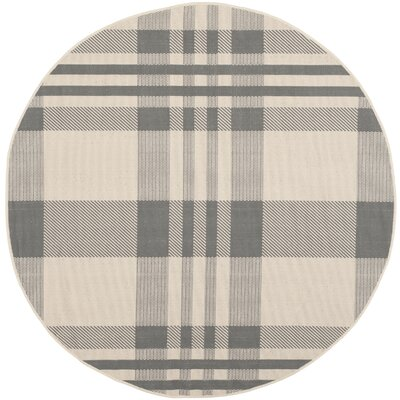 Laurel Gray & Bone Indoor/Outdoor Area Rug Rug Size: Round 53