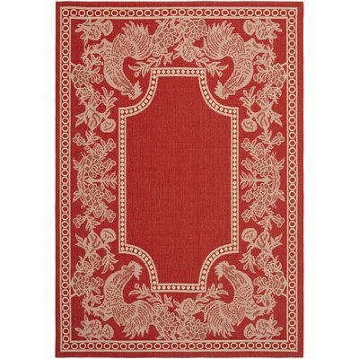Laurel Red/Natural Indoor/Outdoor Rug Rug Size: Rectangle 4 x 57
