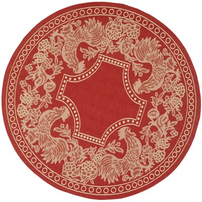 Laurel Red/Natural Indoor/Outdoor Rug Rug Size: Round 53