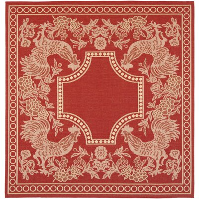 Laurel Red/Natural Indoor/Outdoor Rug Rug Size: Square 67