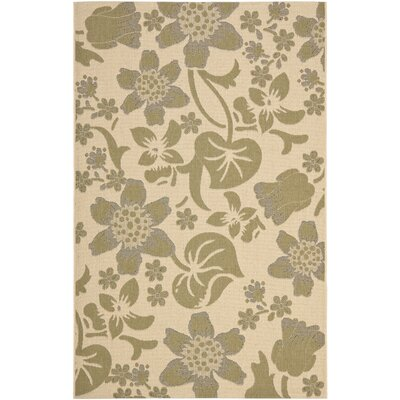 Laurel Cream/Green Indoor/Outdoor Rug Rug Size: 53 x 77