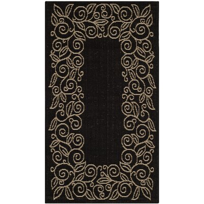 Laurel Black/Sand Outdoor Rug Rug Size: 67 x 96