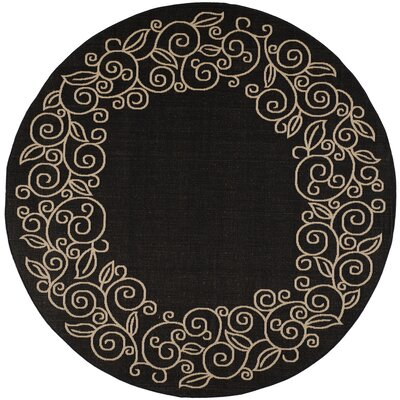 Laurel Black/Sand Outdoor Rug Rug Size: Round 67