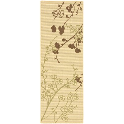 Laurel Natural/Olive Indoor/Outdoor Area Rug Rug Size: Runner 2'4