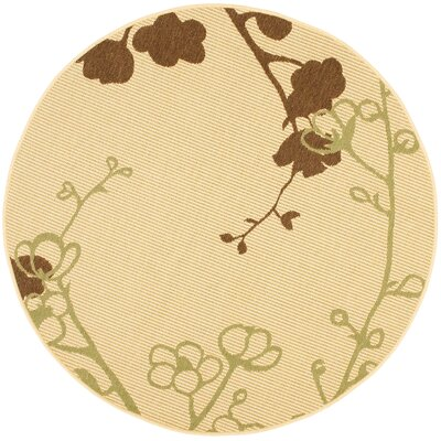 Laurel Natural/Olive Indoor/Outdoor Area Rug Rug Size: Round 5'3