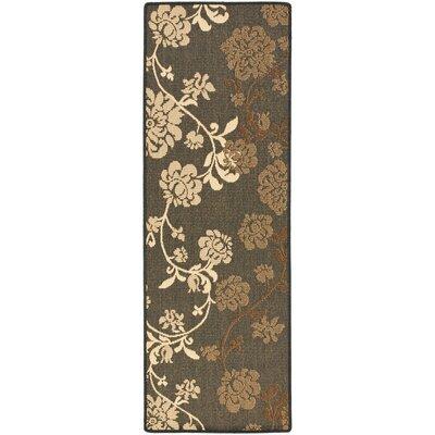Laurel Black Natural/Brown Outdoor Rug Rug Size: Runner 27 x 5