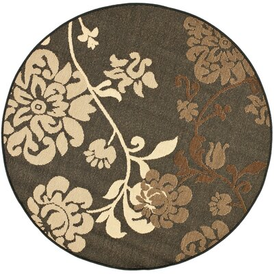 Laurel Black Natural/Brown Outdoor Rug Rug Size: Round 53