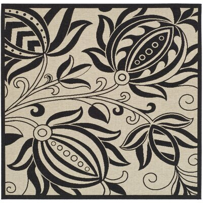 Laurel Sand/Black Indoor Area Rug Rug Size: Square 67