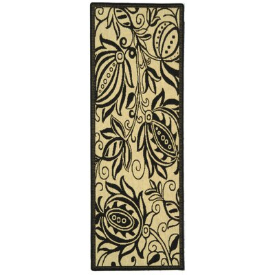 Laurel Sand/Black Indoor Area Rug Rug Size: Runner 24 x 14