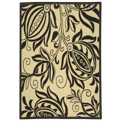 Laurel Sand/Black Indoor Area Rug Rug Size: Rectangle 2 x 37