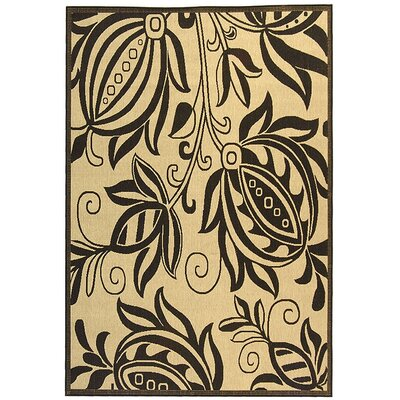 Laurel Sand/Black Indoor Area Rug Rug Size: Rectangle 53 x 77