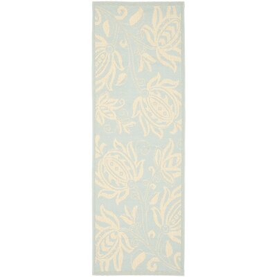 Laurel Aqua / Cream Indoor/Outdoor Rug Rug Size: Runner 24 x 67