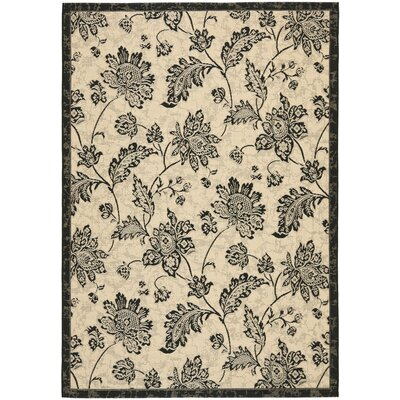 Laurel Creme/Black Indoor/Outdoor Rug Rug Size: 67 x 96