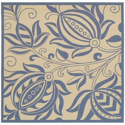 Laurel Natural / Blue Outdoor Area Rug Rug Size: Square 67