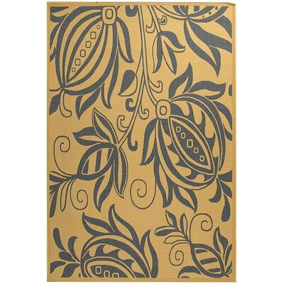 Laurel Natural / Blue Outdoor Area Rug Rug Size: 53 x 77