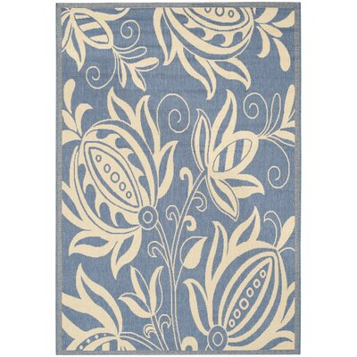 Laurel Blue/Natural Area Rug Rug Size: 53 x 77