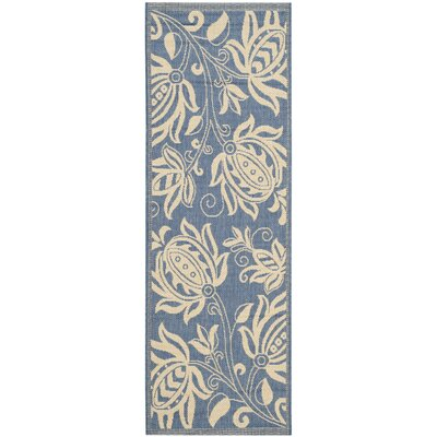 Laurel Blue/Natural Area Rug Rug Size: Runner 24 x 67