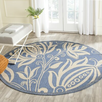 Laurel Blue/Natural Area Rug Rug Size: Round 67