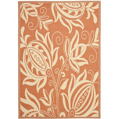 Laurel Terracotta / Natural Indoor/Outdoor Rug Rug Size: Rectangle 53 x 77
