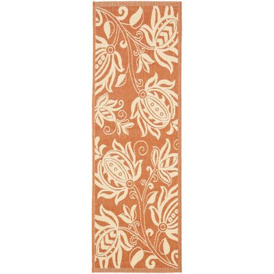 Laurel Terracotta / Natural Indoor/Outdoor Rug Rug Size: Runner 24 x 67