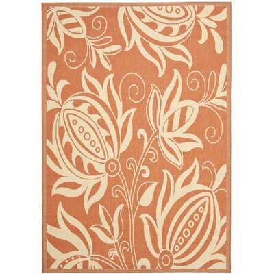 Laurel Terracotta / Natural Indoor/Outdoor Rug Rug Size: 53 x 77