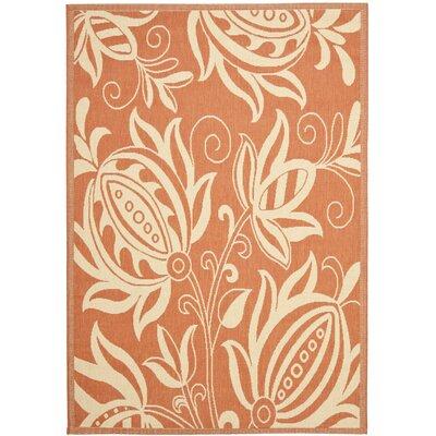 Laurel Terracotta / Natural Indoor/Outdoor Rug Rug Size: 53 x 77