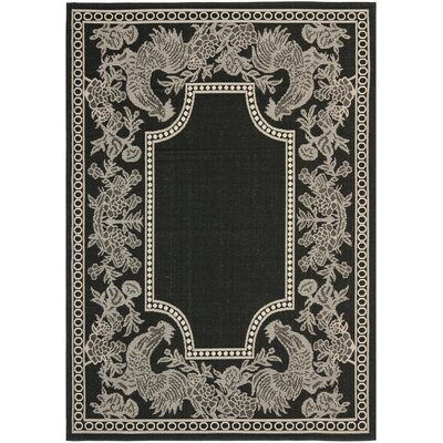 Laurel Black/Sand Indoor/Outdoor Rug Rug Size: Rectangle 53 x 77