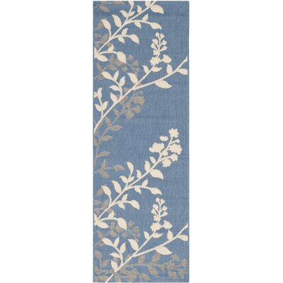 Laurel Blue / Beige Indoor/Outdoor Rug Rug Size: Rectangle 27 x 5