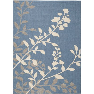Laurel Blue / Beige Indoor/Outdoor Rug Rug Size: 53 x 77