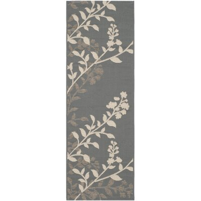 Laurel Anthracite / Beige Indoor/Outdoor Rug Rug Size: Runner 23 x 67