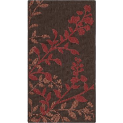 Laurel Chocolate / Red Indoor/Outdoor Rug Rug Size: 2 x 37