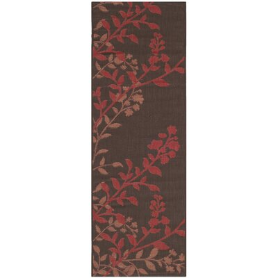Laurel Chocolate / Red Indoor/Outdoor Rug Rug Size: Rectangle 27 x 5