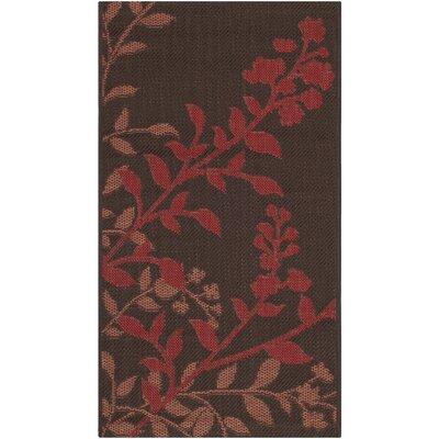 Laurel Chocolate / Red Indoor/Outdoor Rug Rug Size: Runner 27 x 5