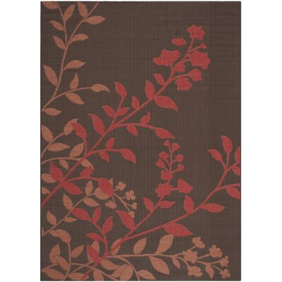 Laurel Chocolate / Red Indoor/Outdoor Rug Rug Size: 53 x 77