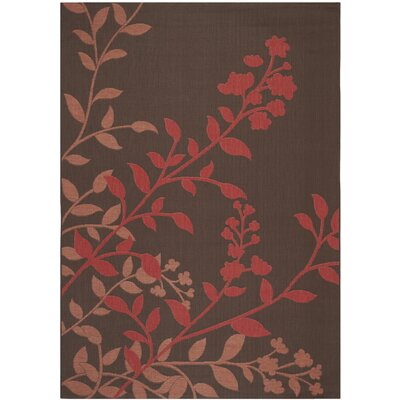 Laurel Chocolate / Red Indoor/Outdoor Rug Rug Size: 67 x 96