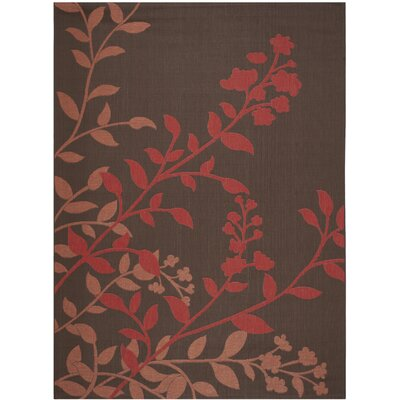 Laurel Chocolate / Red Indoor/Outdoor Rug Rug Size: 8 x 11