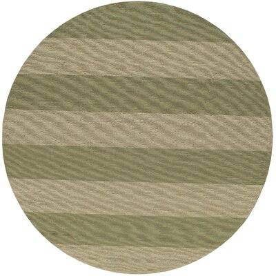 Fleurance Hand-Hooked Sage/Ivory Indoor/Outdoor Area Rug Rug Size: Round 9
