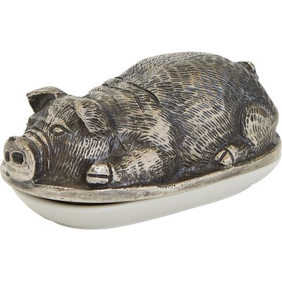 Brushed Nickel Decorative Pigsley Butter Dish