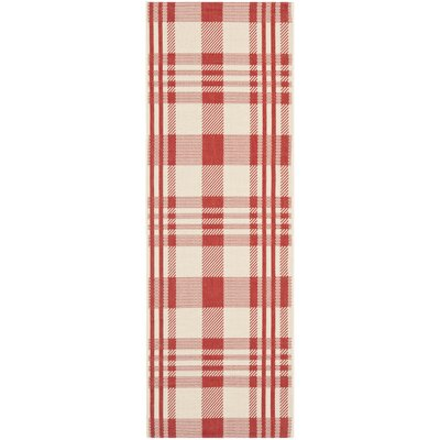 Laurel Red/Bone Indoor/Outdoor Area Rug Rug Size: Runner 23 x 10